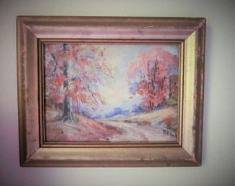 Vintage Oil Painting, Landscape Scene, B.H. Duke, Vintage 1940's or 50's, Chippy Gold Frame