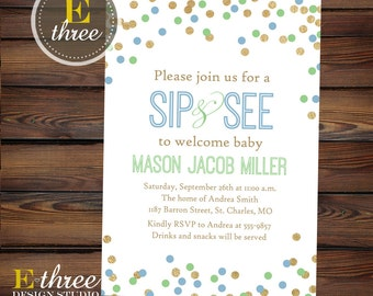 Sip and See Shower Invitation - Boy's Sip and See Party Invitations - Gold, Blue, Green Confetti - Gold Foil