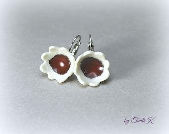 """Handmade Porcelain earrings """"BlossomInRed"""", bell flower earrings, Red flower earrings, White and red earrings, gift for her, gift under 25"""