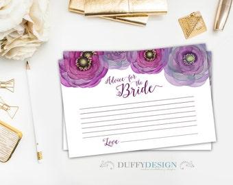 Advice for the Bride Cards, Bride Advice Cards, Printable 4x6 Bridal Advice Cards, DIY Bridal Shower