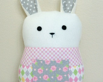 Patchwork Bunny, Tooth Fairy Pillow, Rabbit Plush Toy, Stuffed Animal, Great Baby Girl Gift, Pink and Gray