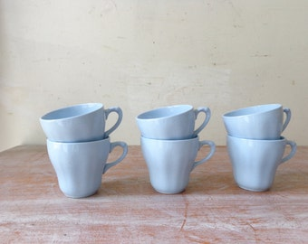 Vintage Set of 6 J and G Meakin Demitasse Cups - Celeste