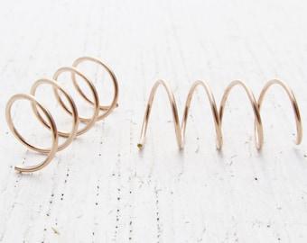 Threader Earrings / Hoops for Four Holes in 14/20 Rose Gold Filled / Pair of Corkscrew Hoops for 4 Side by Side Ear Piercings / 1530