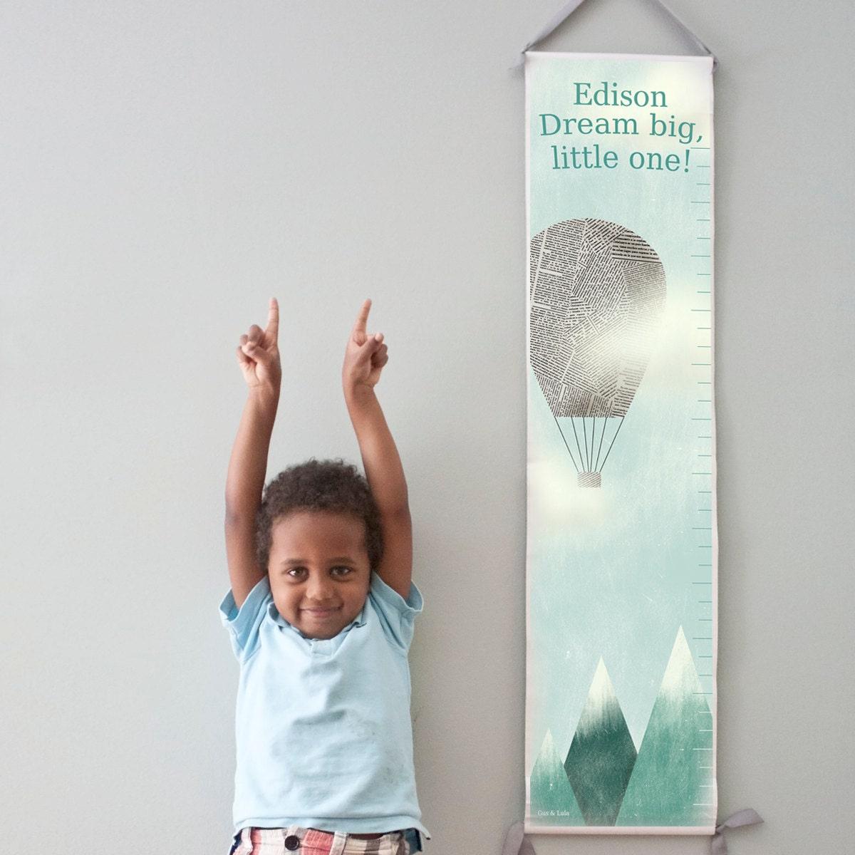 "Custom/ Personalized Hot Air Balloon ""Dream Big"" canvas growth chart"