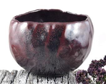 Ceramic Stoneware Bowl Rustic Red Brown Handmade Pottery Foodie Gift Trinket Dish