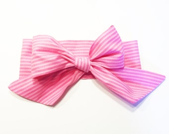 Fabric Bow Headwrap -Pink Stripes - Infant Headband - Fabric Headband - Baby Headband - Topknot Headband - Toddler Headband Big Bow