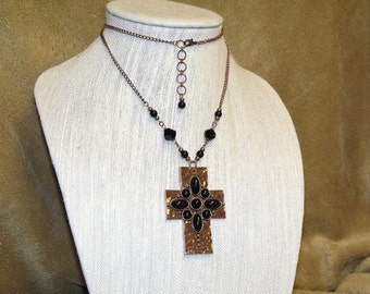 Copper and Black Cabochon Cross Necklace bohemian boho hippie chic pendant indie jewelry