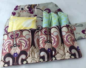 Privacy Pouch - Brown Tampon Case - Sanitary Pad Case - Pad Pouch - Tampon Bag - Tampon Holder- Art Gallery Retro Glam in Plum