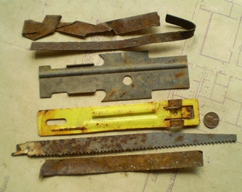 6 Rusty Metal Strips - Salvaged Supplies - Found Objects for Assemblage, Sculpture or Altered Art - Industrial Salvage