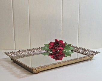 Brass Mirrored Tray Vanity Dresser Tray Large
