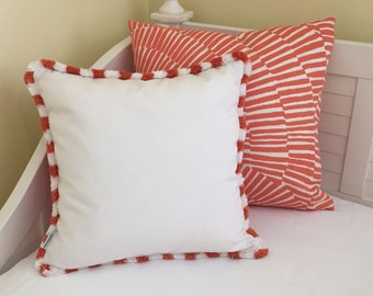 Sunbrella Canvas Indoor Outdoor Designer Pillow Cover with Fringe
