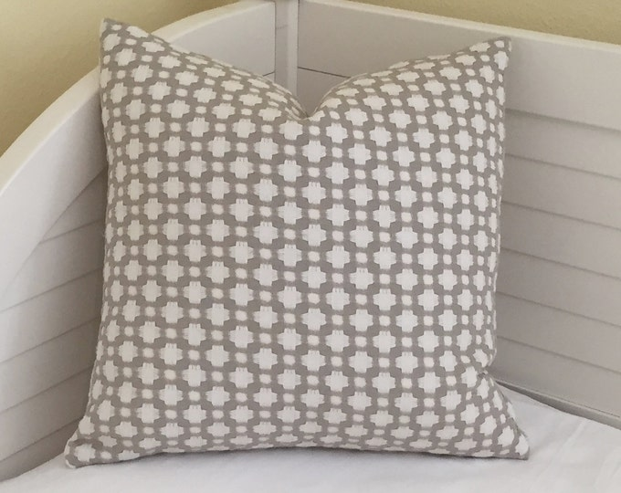 Schumacher Celerie Kemble Betwixt in Stone and White Designer Pillow Cover - Both Sides or Front Only - Square, Lumbar and Euro Sizes