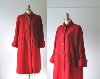 vintage 1940s red wool coat / 40s coat