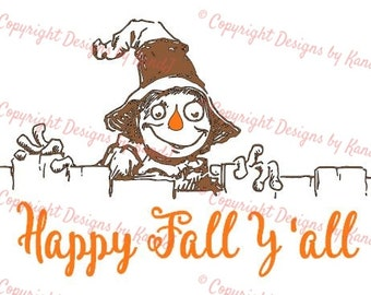 Scarecrow svg Happy Fall Y'all SVG File  digital cut file fall svg - Instant Download