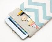50% OFF  Blue Chevron iPad Mini 4 Case with button closure. Padded Cover for iPad Mini 1 2 3 4. iPad Mini Sleeve Bag.