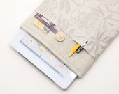 40% OFF SALE iPad Air Case with flowers pocket and button closure. Padded Cover for iPad Air 1 2. iPad Air Sleeve Bag.