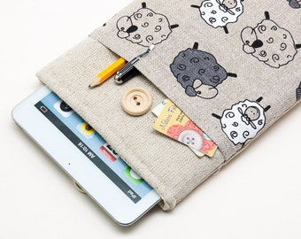 50% OFF SALE iPad Case with linen sheep pattern. Padded Cover for iPad Mini 1 2 3 4. iPad Mini Sleeve Bag.