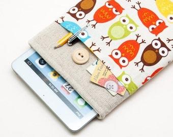 Retro owls iPad Mini 4 Case with button closure. Padded Cover for iPad Mini 1 2 3 4. iPad Mini Sleeve Bag.