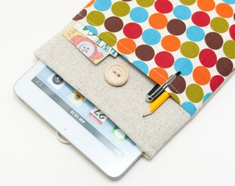 50% OFF SALE Retro circles iPad Case with button closure. Padded Cover for iPad Mini 1 2 3 4. iPad Mini Sleeve Bag.