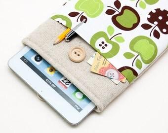 Retro apples iPad Mini Case with button closure. Padded Cover for iPad Mini 1 2 3 4. iPad Mini Sleeve Bag.