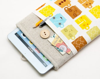 50% OFF SALE Retro cups iPad Mini 4 Case with button closure. Padded Cover for iPad Mini 1 2 3 4. iPad Mini Sleeve Bag.