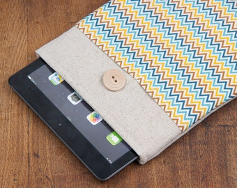 50% OFF SALE Colorful Chevron iPad Mini 4 Case with button closure. Padded Cover for iPad Mini 1 2 3 4. iPad Mini Sleeve Bag.