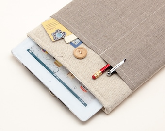 50% OFF SALE iPad Air 2 Case with Dark Linen pocket and button closure. Padded Cover for iPad Air 1 2. iPad Air Sleeve Bag.