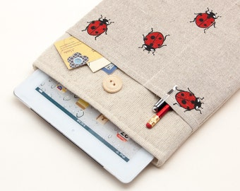 50% OFF SALE Case for iPad Air 2 with ladybirds pocket and button closure. Padded Cover for iPad Air 1 2. iPad Air Sleeve Bag.
