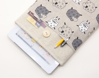50% OFF SALE iPad Air Case with Sheep pocket and button closure. Padded Cover for iPad Air 1 2. iPad Air Sleeve Bag.