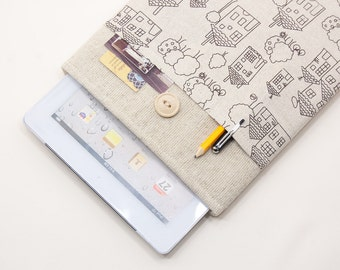 50% OFF SALE iPad Air Case with drawn houses pocket and button closure. Padded Cover for iPad Air 1 2. iPad Air Sleeve Bag.