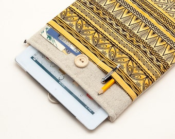 50% OFF SALE White Linen iPad Air Case with tribal motives print pocket. Padded Cover for iPad Air 1 2. iPad Air Sleeve Bag.