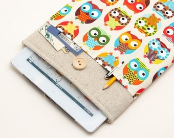 50% OFF SALE White Linen iPad Air 2 case with colorful owls print pocket. Padded Cover for iPad Air 1 2. iPad Air Sleeve Bag.