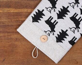 50% OFF SALE White Linen iPad Air Case with deer fir print pocket. Padded Cover for iPad Air 1 2. iPad Air Sleeve Bag.