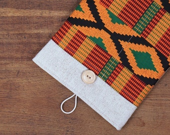 50% OFF SALE White Linen iPad Case with African kente style print pocket. Padded Cover for iPad Air 1 2. iPad Air Sleeve Bag.