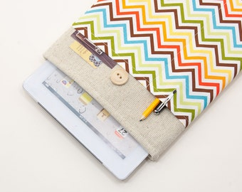 """50% OFF SALE White Linen iPad Pro 9.7 Case with retro color chevron pocket. Padded Cover for iPad Pro 12.9"""". iPad Pro Sleeve"""
