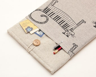 "50% OFF SALE White Linen MacBook 11"" Case with piano cat pocket. Case for MacBook 11 Air. Sleeve for MacBook Air 11 inch"