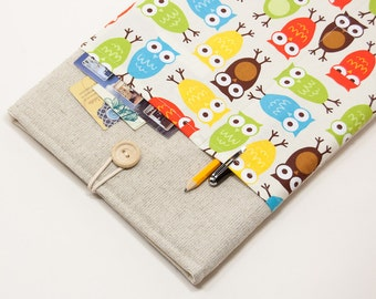 """70% OFF SALE White Linen MacBook 11"""" Case with retro owls pocket. Case for MacBook 11 Air. Sleeve for MacBook Air 11 inch."""