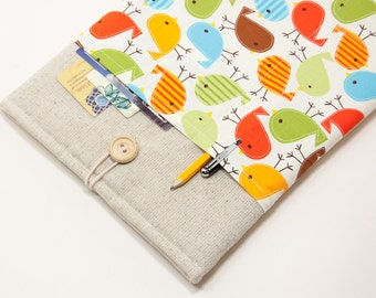 "50% OFF SALE White Linen MacBook 11"" Case with birds pocket. Case for MacBook 11 Air. Sleeve for MacBook Air 11 inch."