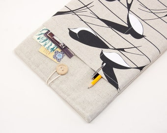 50% OFF SALE White Linen MacBook Air Case with swallows print pocket. Case for MacBook 11 Air. Sleeve for MacBook Air 11 inch.
