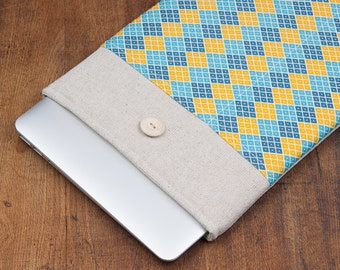 "50% OFF SALE White Linen MacBook 11"" Air Case with yellow blue rhombus pocket. Case for MacBook 11 Air. Sleeve for MacBook Air 11"""