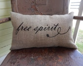 FREE SPIRIT Burlap Pillow Square Decorative Throw Accent Pillow Custom Colors Available Brave Teen Gift Home Decor Nursery