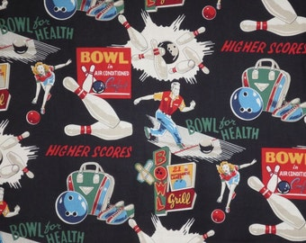 "Clever ""Bowl for Health"" Print Pure Cotton Fabric--One Yard"