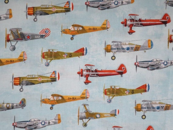 Remnantallover vintage airplane print pure cotton fabric for Airplane print cotton fabric