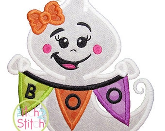 "Boo Banner Ghost Girl Applique, Shown with our ""Razzle"" Font NOT Included, Sizes 4x4, 5x5, & 6x6 INSTANT DOWNLOAD available"