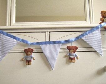 Teddy Bear Banner/Bunting, Nursery Decor, Blue Stripes and Teddy Bears, Wall Decor, Baby Shower Decor, Birthday Party Decor