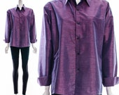 Vintage Iridescent Blue Lavender Purple Thai Multicolor Tailored Silk Button Down Long Sleeve Top Slim Cut Oversized Medium Large XL