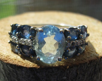 Vintage Sterling Silver Women's Ladies Ring with Lab Created Blue Topaz Aquamarine and Cubic Zirconia Size 8