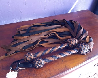 Deerskin Flogger Set, Florentine Floggers in brown and black- Flogger, Whip, BDSM