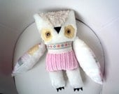 Eldorado  owl  soft art  creature toy  by  Wassupbrothers, white pink  yellow lacy nursery decor, stuffed doll, boho, buho
