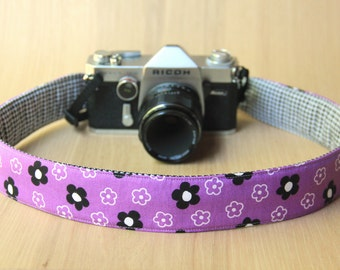 Camera Strap for DSLR - Crossbody, Reversible, Quick Release - Black and White Flowers on Purple - Ready to Ship